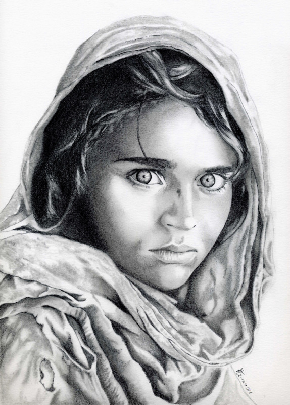 Afghan girl - Original photo by Steve McCurry